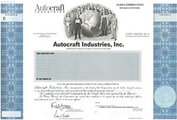 Autocraft Industries Specimen Stock Certificate