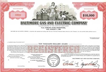 Baltimore Gas & Electric Co. Specimen Stock Certificate