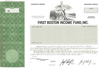First Boston Income Fund, Inc. Specimen Stock Certificate