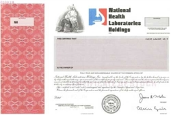 National Health Laboratories Hldgs Specimen Stock Certificate
