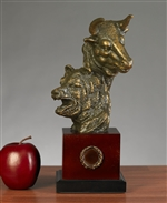 Stock Market Bull and Bear Sculpture - Bronzed Statue