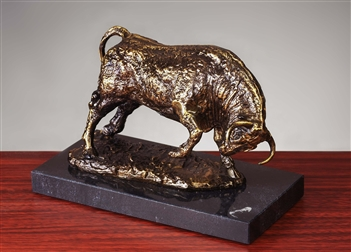 Market Maker Bull Statue, Antique Brass on Marble Sculpture