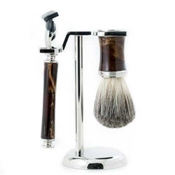 Fusion Razor & Pure Badger Brush with Marbleized Brown Enamel on Chrome Stand