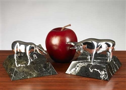Brass Bull and Bear Paperweight Set on Marble
