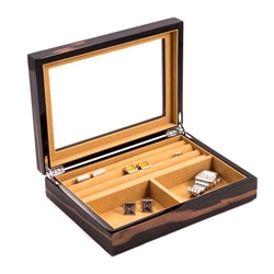 Ebony Lacquered Burl Wood Finish Valet Box