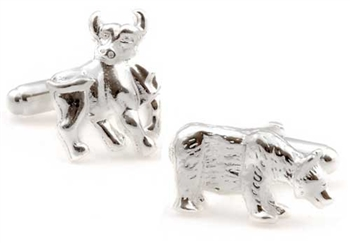 Sterling Silver Bull & Bear Cufflinks