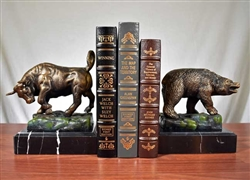 Bull and Bear Bookends on Marble