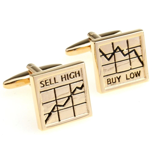 9K Gold Plated Cufflinks Stock Market Buy Low Sell High Shares Cuff Links UK