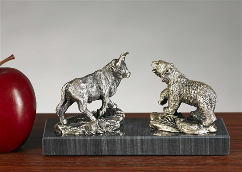 Pewter Bull Amp Bear Statue Free Next Day Engraving