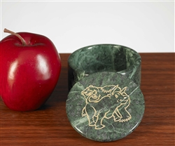 Fighting Bull & Bear Solid Marble Round Box
