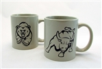 Bull & Bear Coffee Mugs -Light Grey