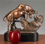 Dueling Bull and Bear Statue - Free Next Day Engraving