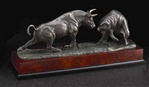 Bull & Bear Sculpture on Burlwood - Free Next Day Engraving