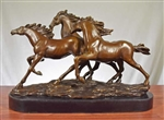 Pure Bronze Running Horses Sculpture on Marble