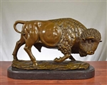 Pure Bronze Buffalo Sculpture on Marble - Large