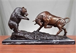 Pure Bronze Dueling Bull and Bear Sculpture on Marble