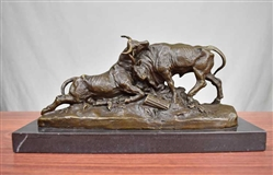 Pure Bronze Dueling Bulls on Marble