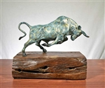 Pure Bronze Bull Sculpture on Natural Wood
