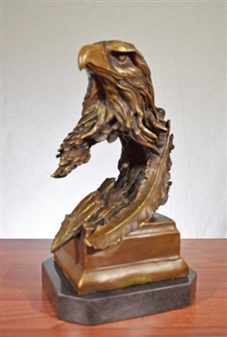 Pure Bronze Eagle on Marble Sculpture