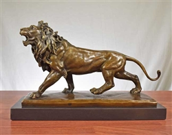 Pure Bronze Lion Statue on Marble - Large