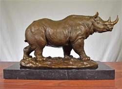 Pure Bronze Rhino Statue on Marble - Large