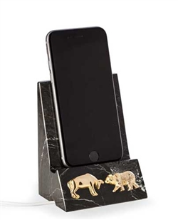 Bull and Bear Phone Cradle - Black Marble - With Next Day Engraving