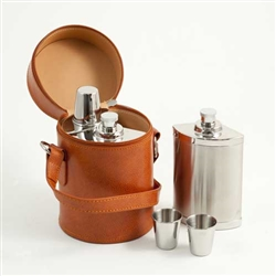 Brown Leather Six Piece Stainless Steel Flask Set