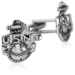 US Navy Anchor Cufflinks Silver