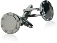 Port Hole Gun Metal Cufflinks