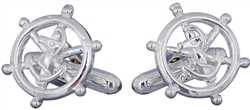 Nautical Sterling Silver Ships Wheel Cufflinks