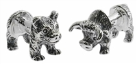 Sterling Silver Bull & Bear Body Cufflinks