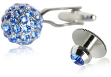 Crystal Ball Cufflinks Studs Blue