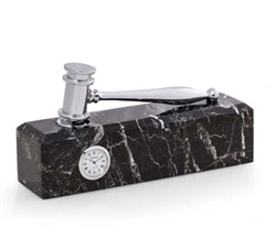 Silver Gavel Clock on Black Marble