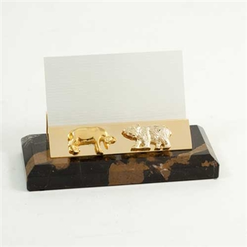 Stock Market Bull and Bear Business Card Holder