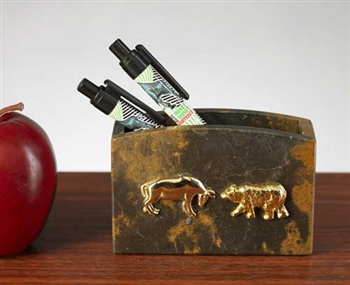Stock Market Bull and Bear Pen and Pencil Holder -Marble
