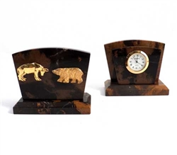 Stock Market Bull and Bear Desk Clock/ Letter Rack