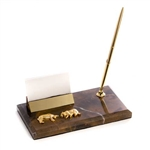 Stock Market Bull and Bear Business Card Holder w/Pen