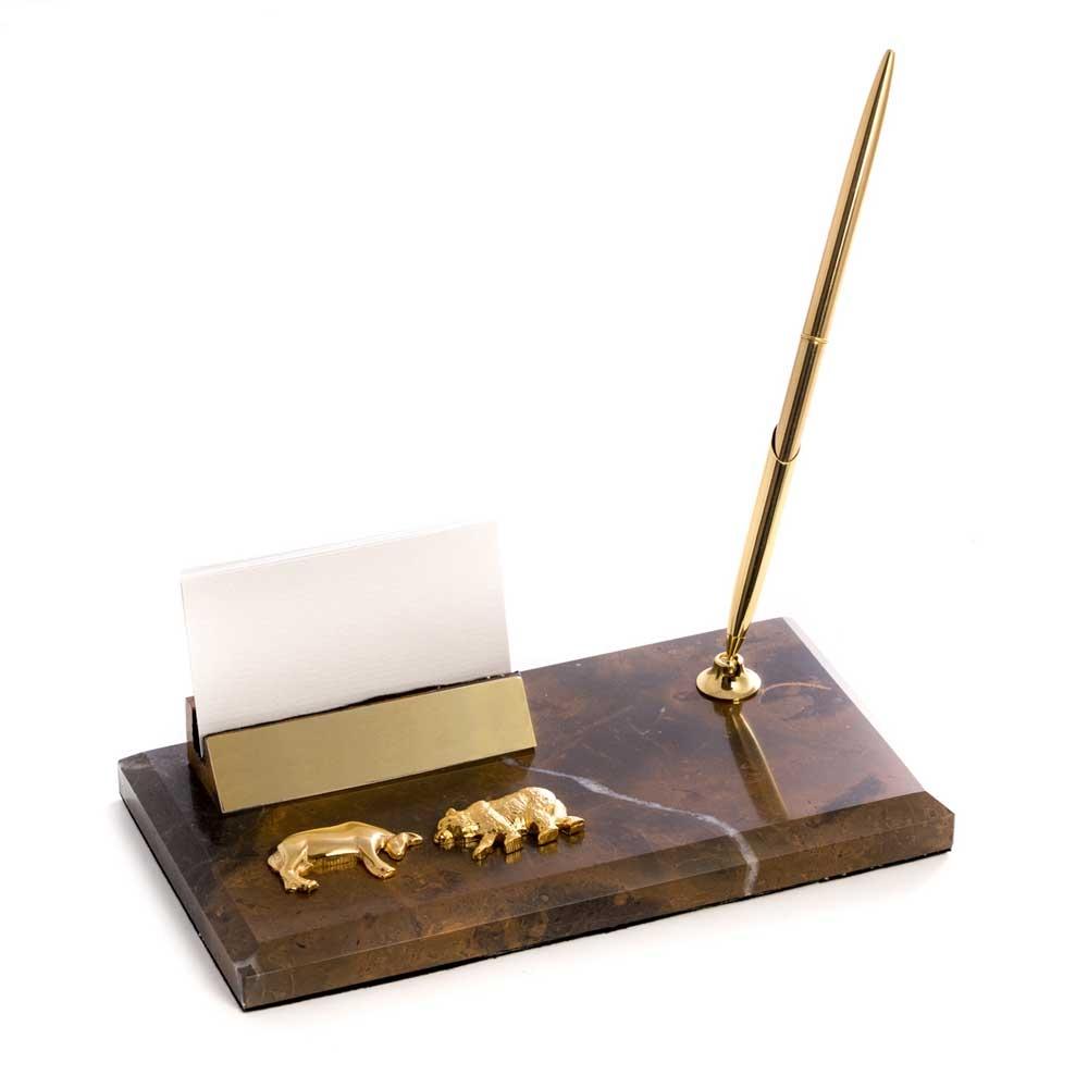 Stock Market Bull And Bear Business Card Holder W Pen