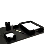 6 Piece Black Leather Desk Set