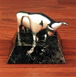 Chrome Stock Market Bull Statue on Marble - Paperweight