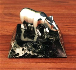 Brass Chrome Bear Statue on Marble - Paperweight