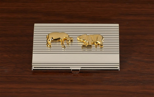 Stock Market Bull And Bear Business Card Case