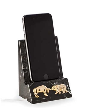Bull and Bear Phone Cradle - Black Marble