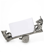 Solid Pewter Bull & Bear Business Card Holder