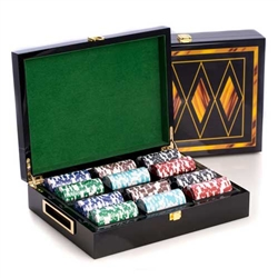 Inlaid Lacquer Wood Poker Set with 300 Chips