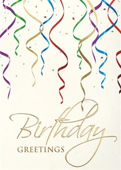 Elegant Streamers Birthday Card - Greeting Card