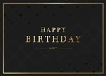 Black & Gold Pattern Birthday Card