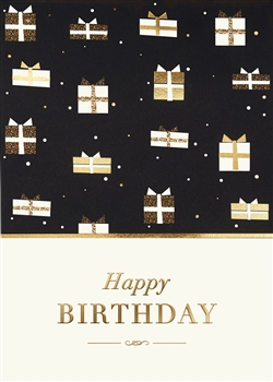 Gold Shimmery Presents Birthday Card - Greeting Card