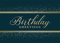Birthday Dark Teal & Gold Birthday Card - Greeting Card