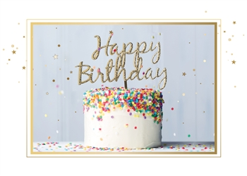 Colorful Sprinkles & Gold Confetti Birthday Card - Greeting Card
